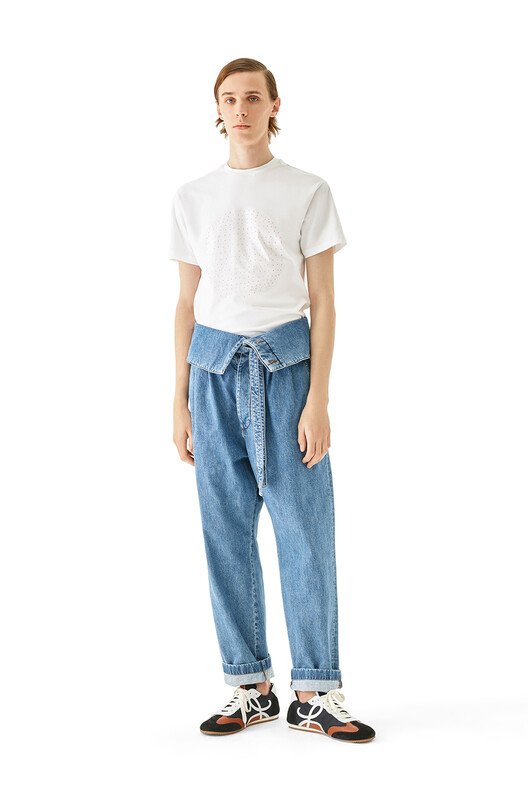 LOEWE Belted Pleated Oversize Jeans Blue Denim front