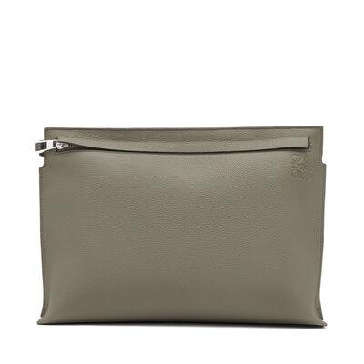 LOEWE T Pouch Bicolor Khaki Green/Dark Grey front