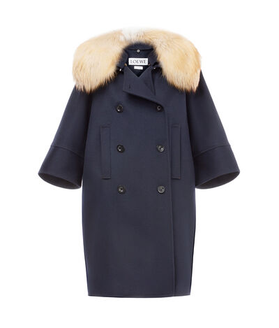 LOEWE Db Coat Fox Collar Navy Blue front