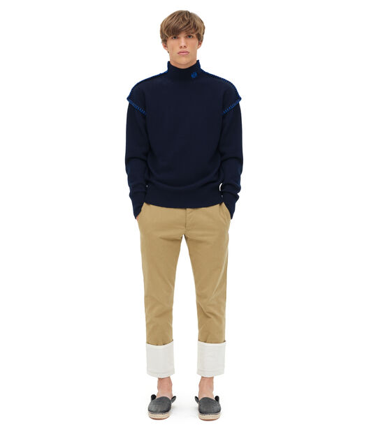LOEWE Blanket Stitch Turtleneck Navy Blue front