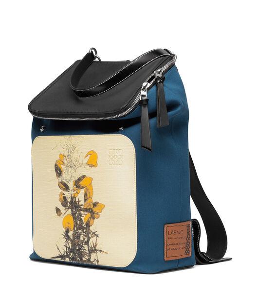 LOEWE Goya Botanical Backpack Petroleum Blue/Black all