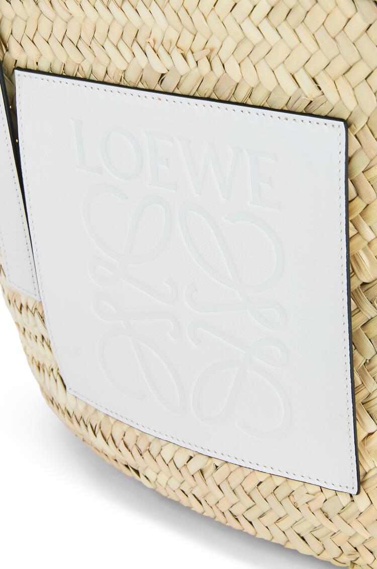 LOEWE Large Basket bag in palm leaf and calfskin Natural/White pdp_rd