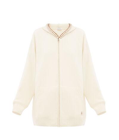 LOEWE Zip Hoodie Blanket Stitch Off-White front