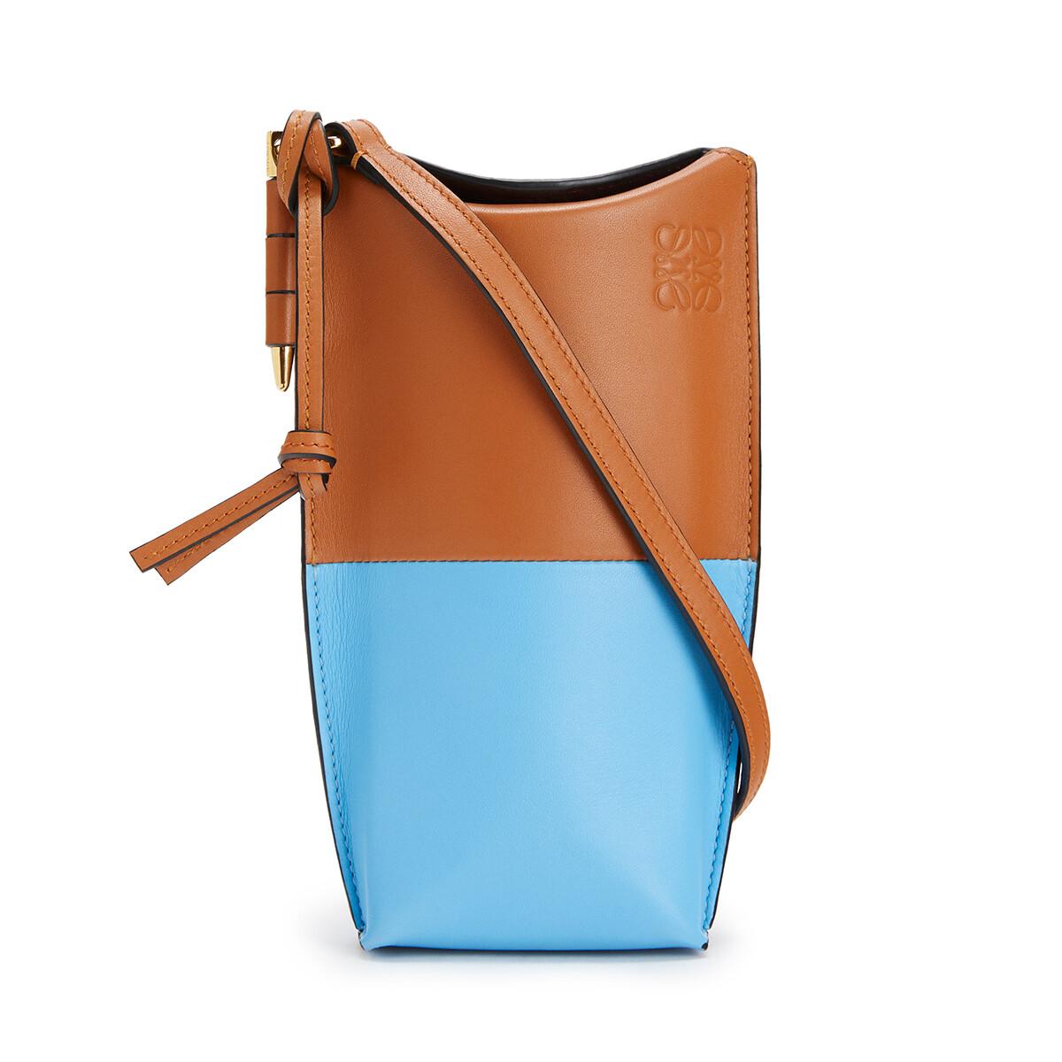 LOEWE Gate Pocket Tan/Sky Blue front
