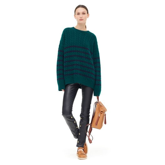 LOEWE Stripe Cable Knit Sweater Verde/Marino front