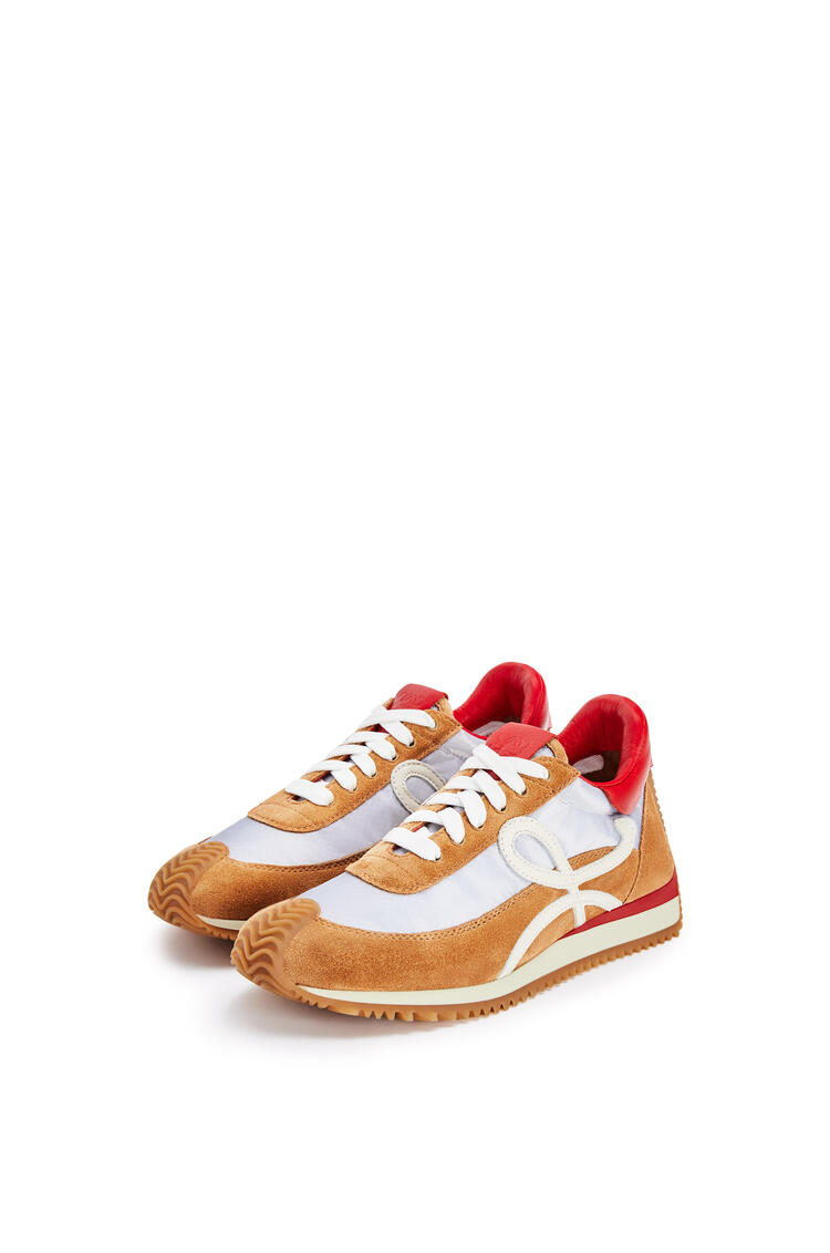 LOEWE Flow runner in suede and polyester Silver/Brown pdp_rd