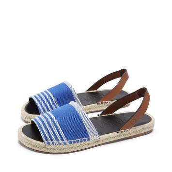 LOEWE ストライプエスパドリーユサンダル blue/tan front