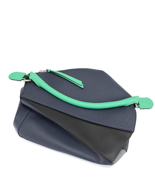 LOEWE Puzzle Large Bag Deep Blue/Green front