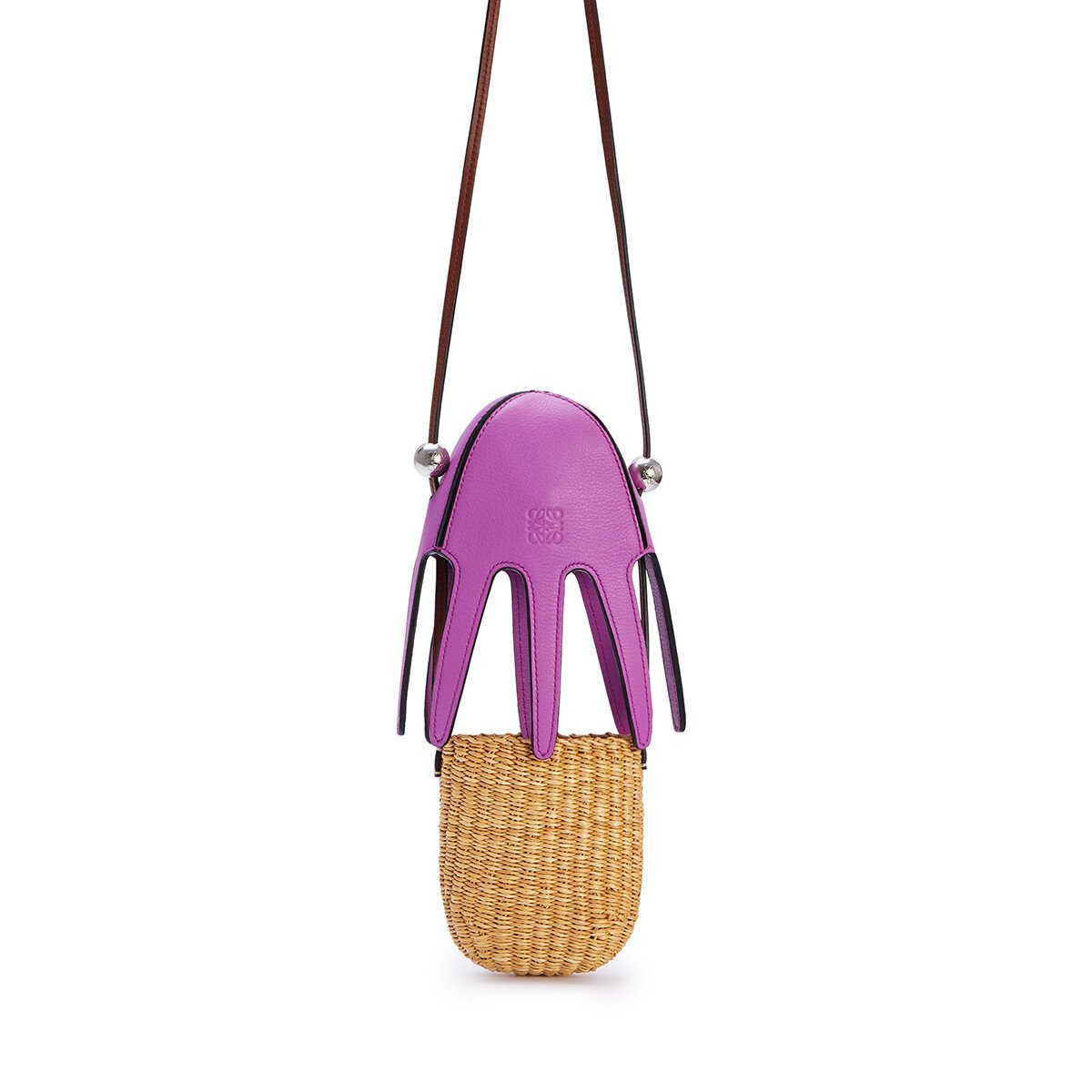 LOEWE Mini Octopus Bag In Elephant Grass And Calfskin Natural/Bright Purple front