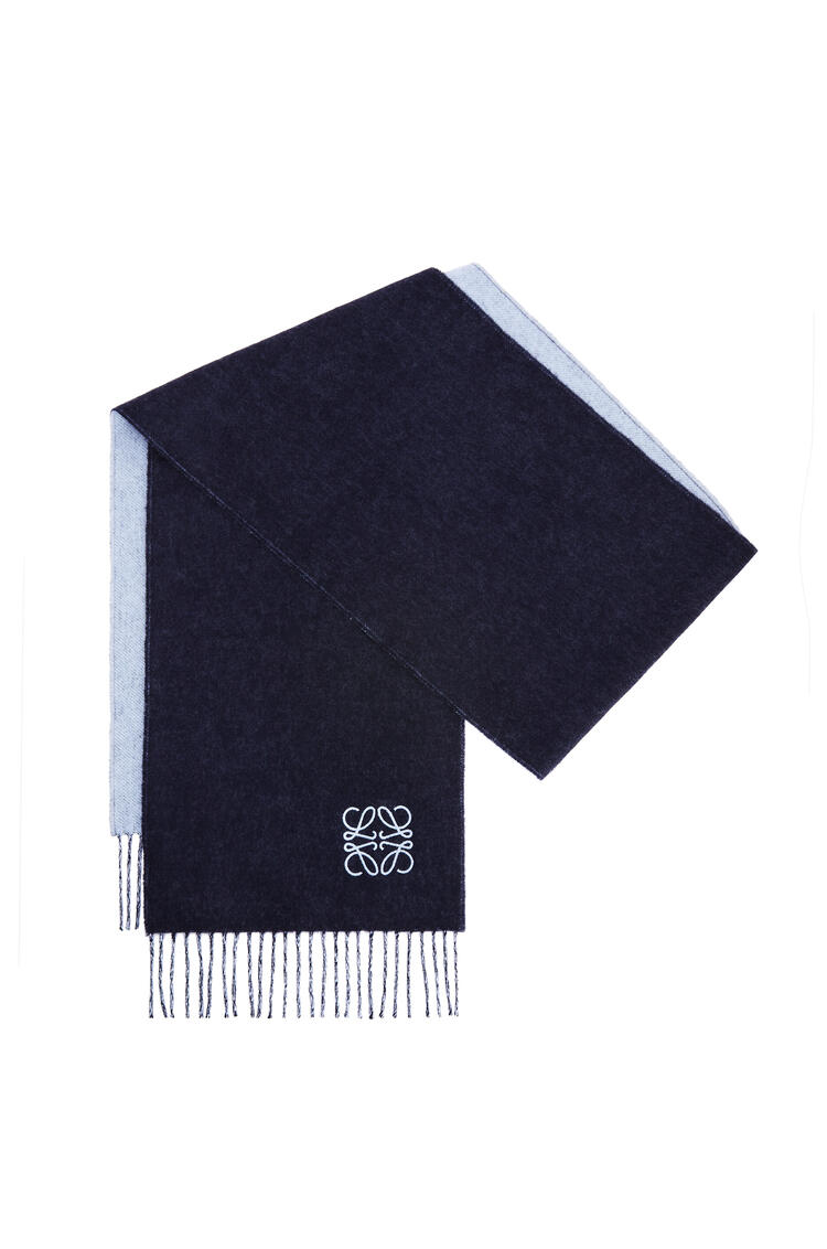 LOEWE Bicolour scarf in wool and cashmere Light Blue/Navy Blue pdp_rd