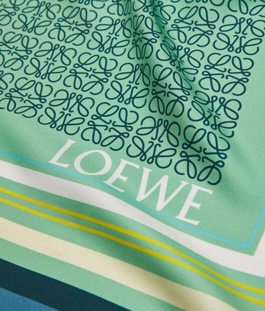LOEWE 140X140 Scarf Print Patchwork Blue/Green front