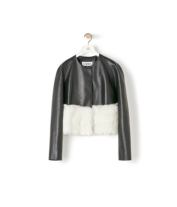 LOEWE Shearling Trim Jacket Black/White front