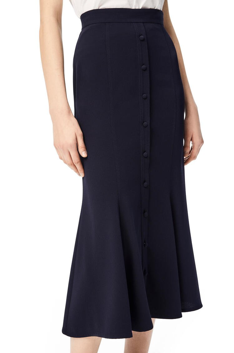 LOEWE Button skirt in satin back crepe Navy Blue pdp_rd