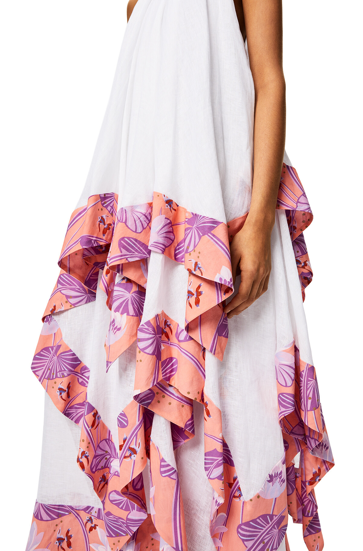 LOEWE Halterneck Tier Dress In Linen Salmon/White front