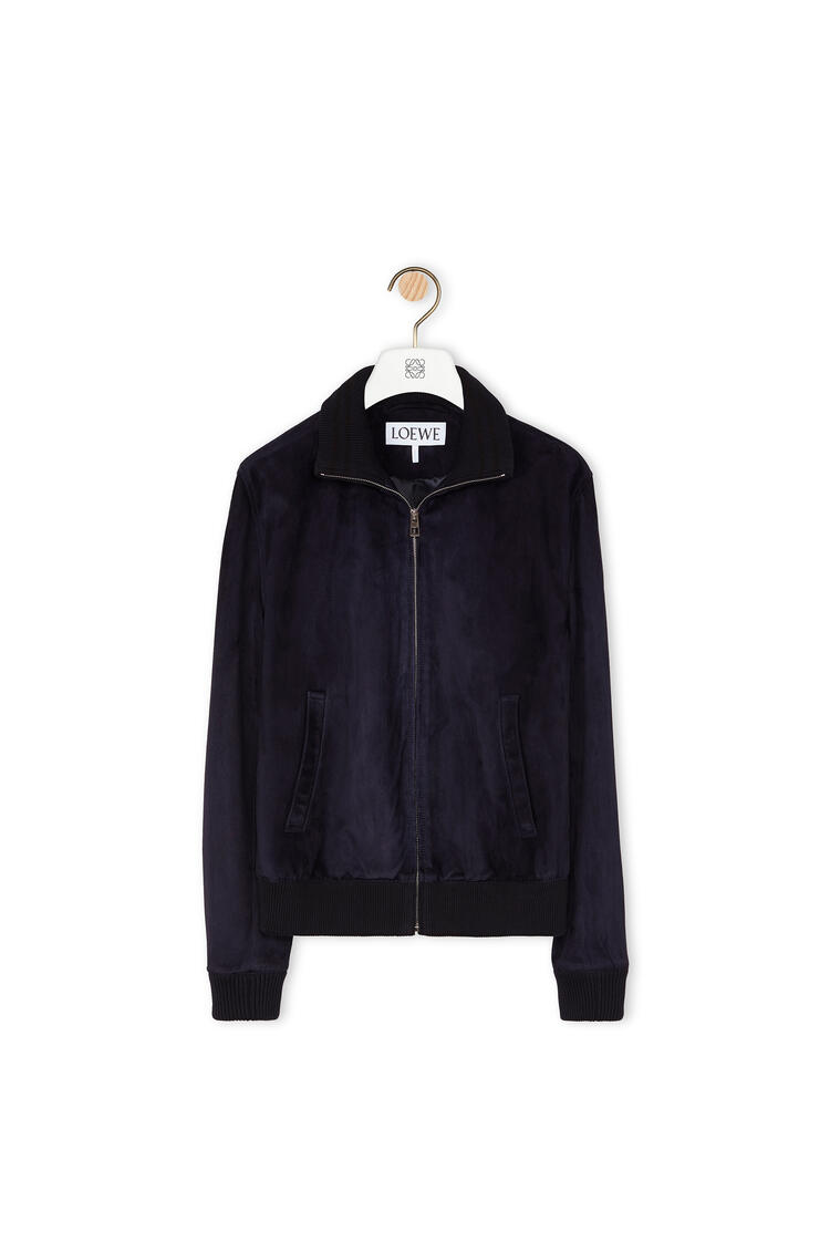 LOEWE Zip jacket in suede Dark Navy Blue pdp_rd