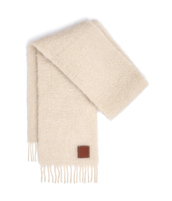 LOEWE 23X185 Mohair Scarf Blanco front