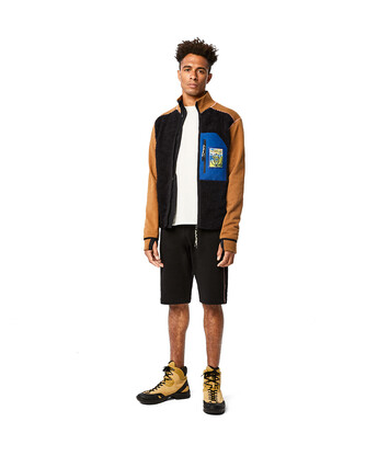 LOEWE Eln High Neck Fleece Jacket Black/Camel front