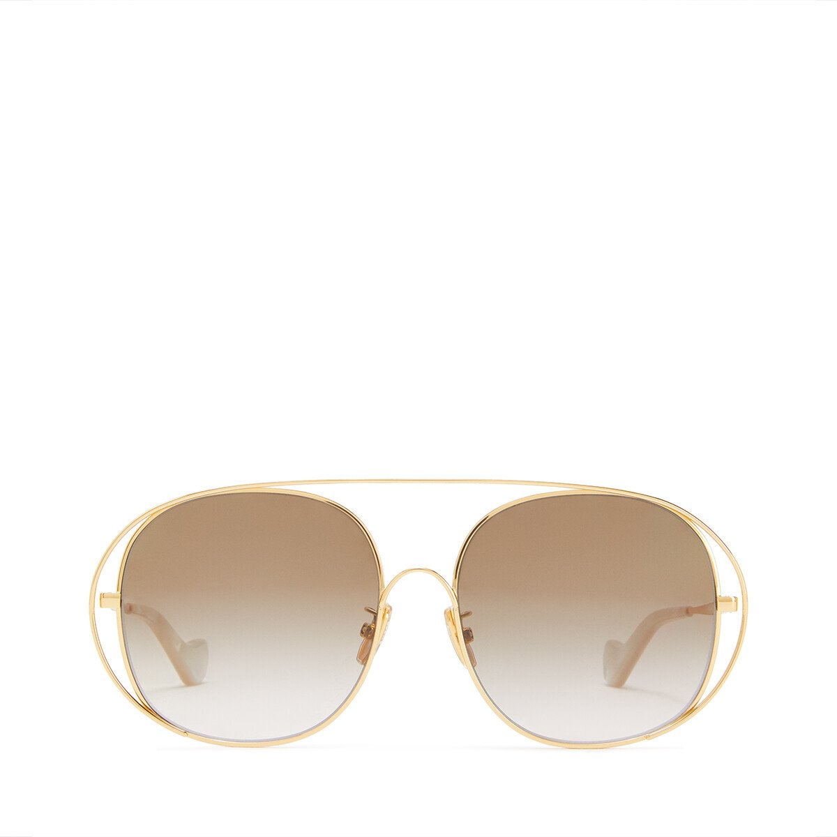 LOEWE Metal Round Sunglasses 沙色 front