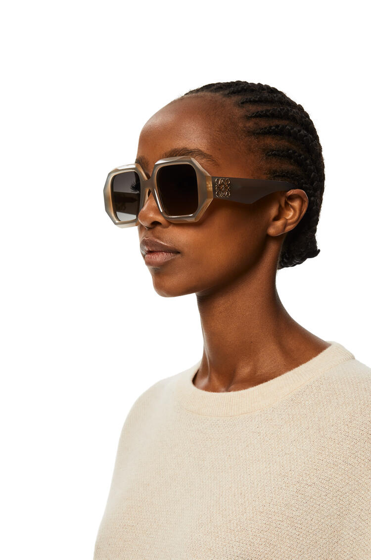 LOEWE Chunky rectangular sunglasses in acetate Milky Light Grey pdp_rd