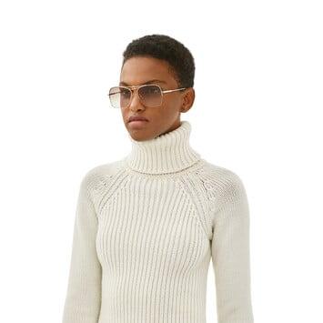 LOEWE Knot Pilot Square Sunglasses Rhodium Shiny/Gradient Brown front