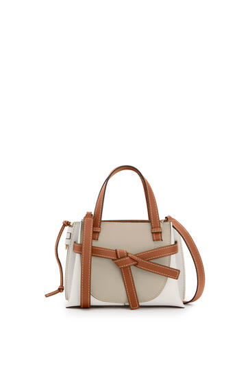 LOEWE Mini Gate Top Handle bag in natural calfskin Light Oat/Soft White pdp_rd