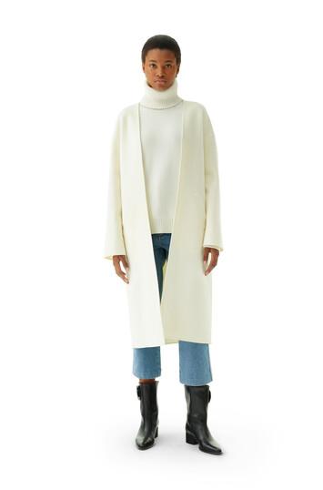 LOEWE Collarless Coat Off-White front