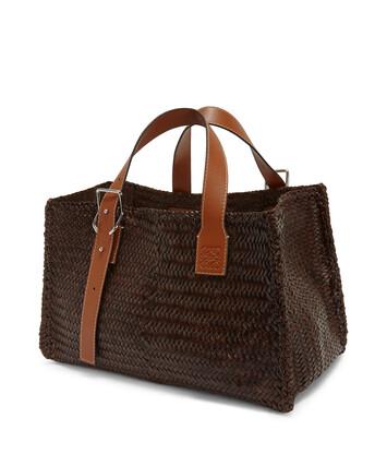 LOEWE Buckle Tote Woven Bag Brunette front