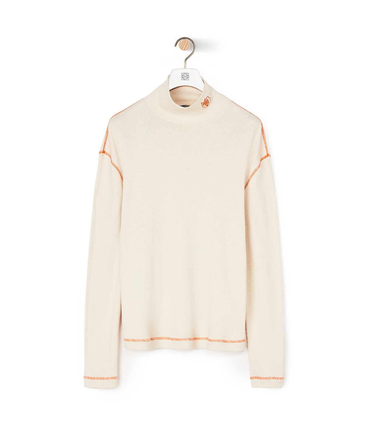 LOEWE Eln Roll Neck Long Slv T-Shirt Ecru front