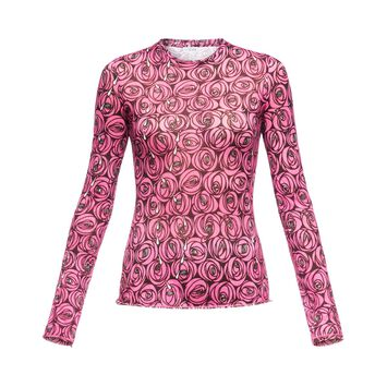 LOEWE Long Sleeve T-Shirt Roses Rosa/Negro front