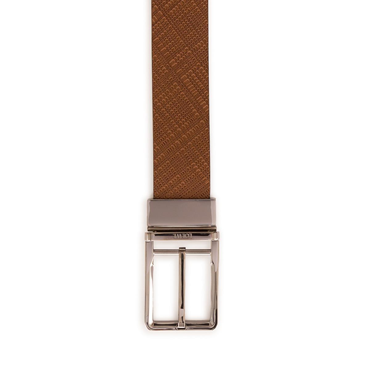 LOEWE Cinturon  Formal 3.2Cm Adj/Rev Marron Oscuro/Negro/Rutenio front