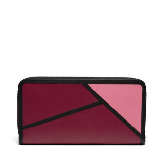 LOEWE Puzzle Zip Around Wallet Wild Rose/Raspberry front