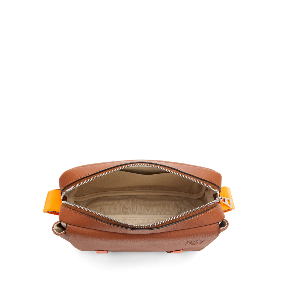 LOEWE Xs Military Messenger Bag In Soft Grained Calfskin Tan/Neon Orange front