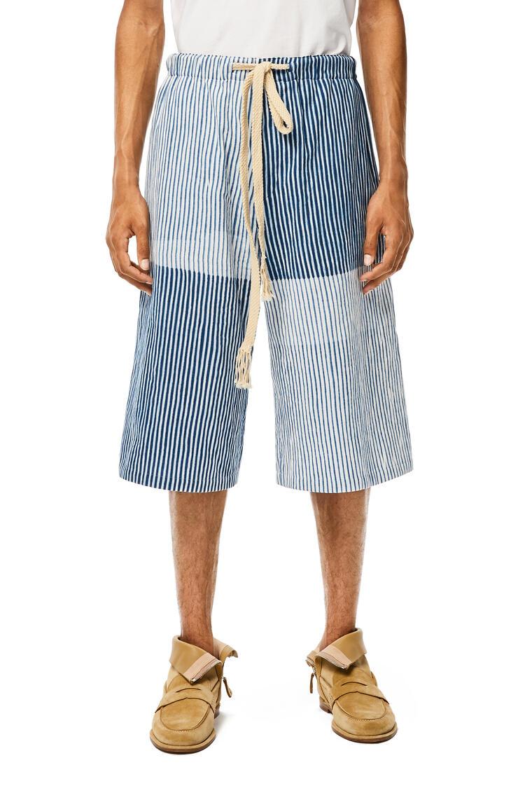 LOEWE Drawstring Shorts In Striped Cotton White/Blue pdp_rd