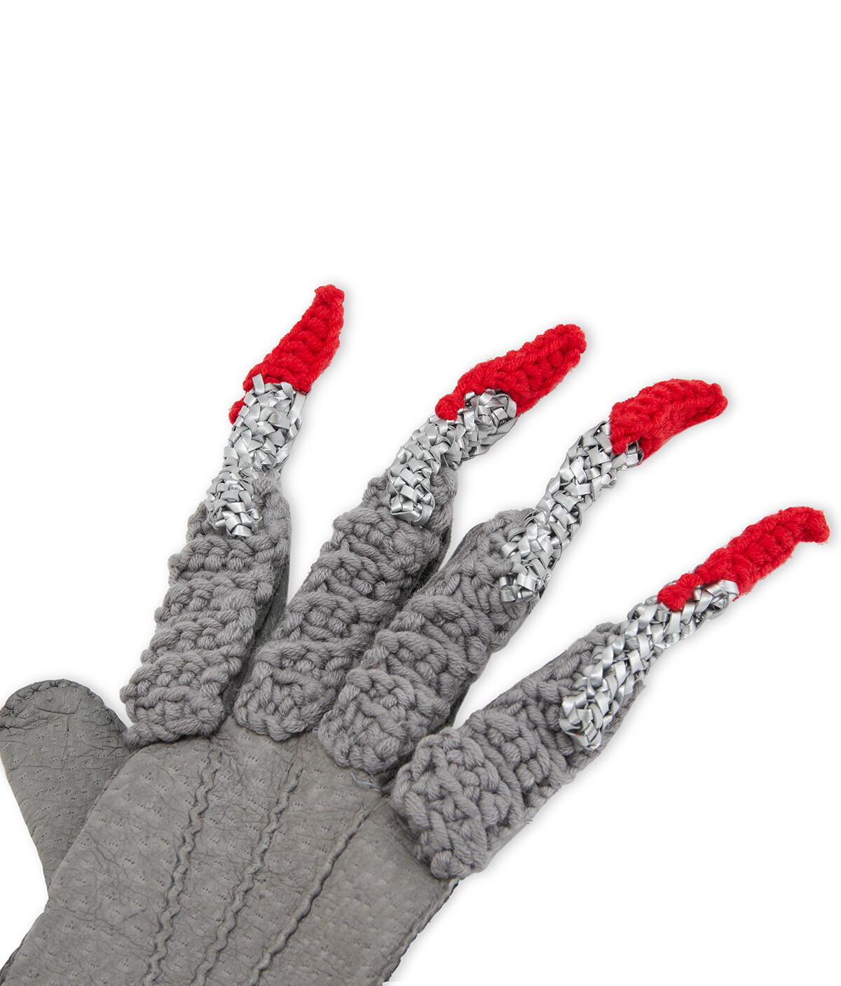 LOEWE Claw Knit Gloves Gris/Rojo front