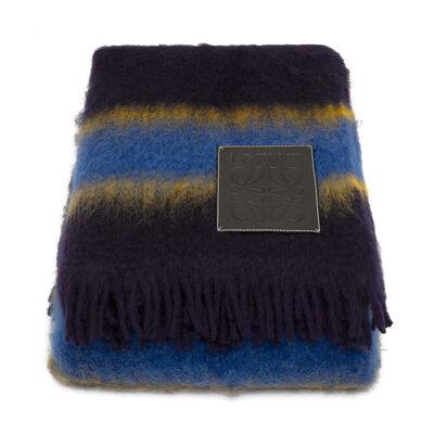 LOEWE 140X200 Stripes Blanket Blue Multitone/Black front