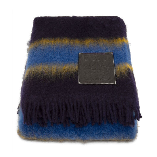 LOEWE 180X220 ストライプ ブランケット Blue Multitone/Black all