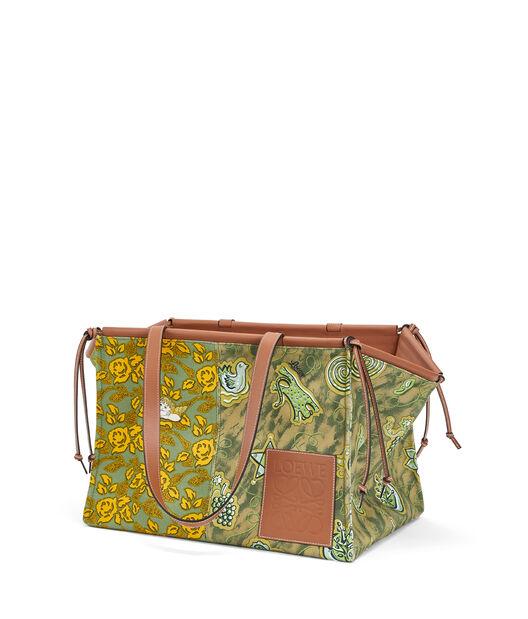LOEWE Paula's Cushion Tote Prints 绿色/黄色 front