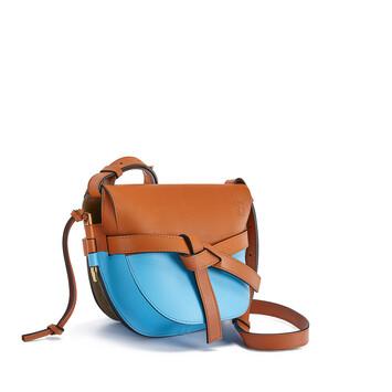 LOEWE Gate Colour Block Small Bag Tan/Sky Blue front