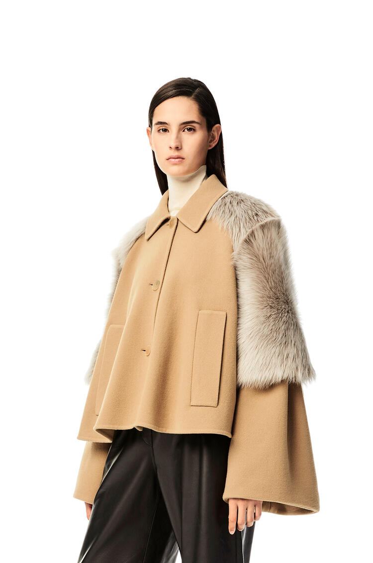 LOEWE Shearling trim jacket in wool and cashmere Camel pdp_rd