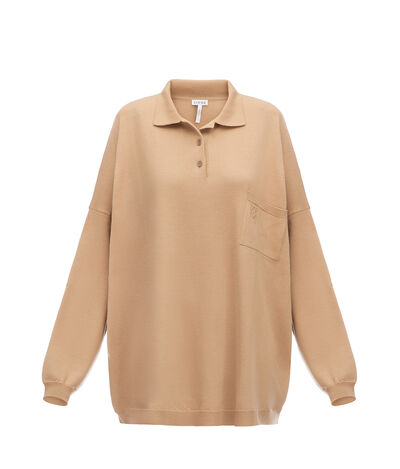 LOEWE Oversize Poloneck Sweater Camel front