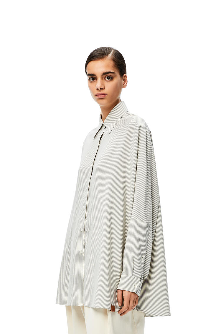 LOEWE Batwing sleeve shirt in striped silk White/Blue pdp_rd