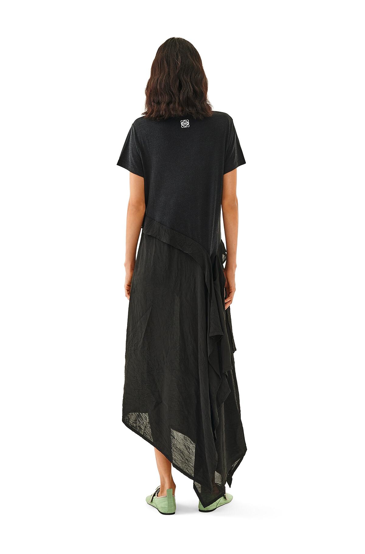 LOEWE Satin & Jersey T-Shirt Dress Negro front