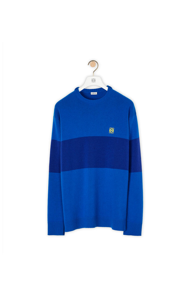 LOEWE 条纹羊绒 Anagram 刺绣毛衣 blue/electric blue pdp_rd