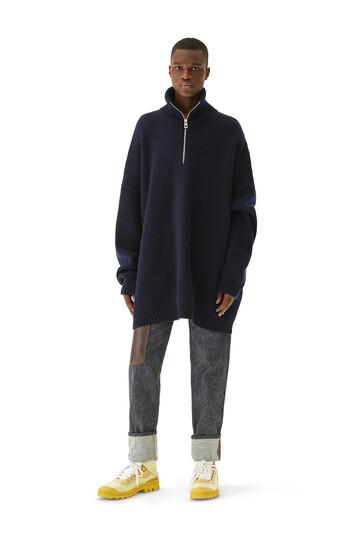 LOEWE Oversize Zip Sweater ネイビーブルー front