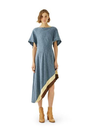 LOEWE Asymmetric Dress Jacquard Blue/Multicolor front