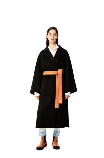 LOEWE Oversize belted coat in cashmere Black pdp_rd