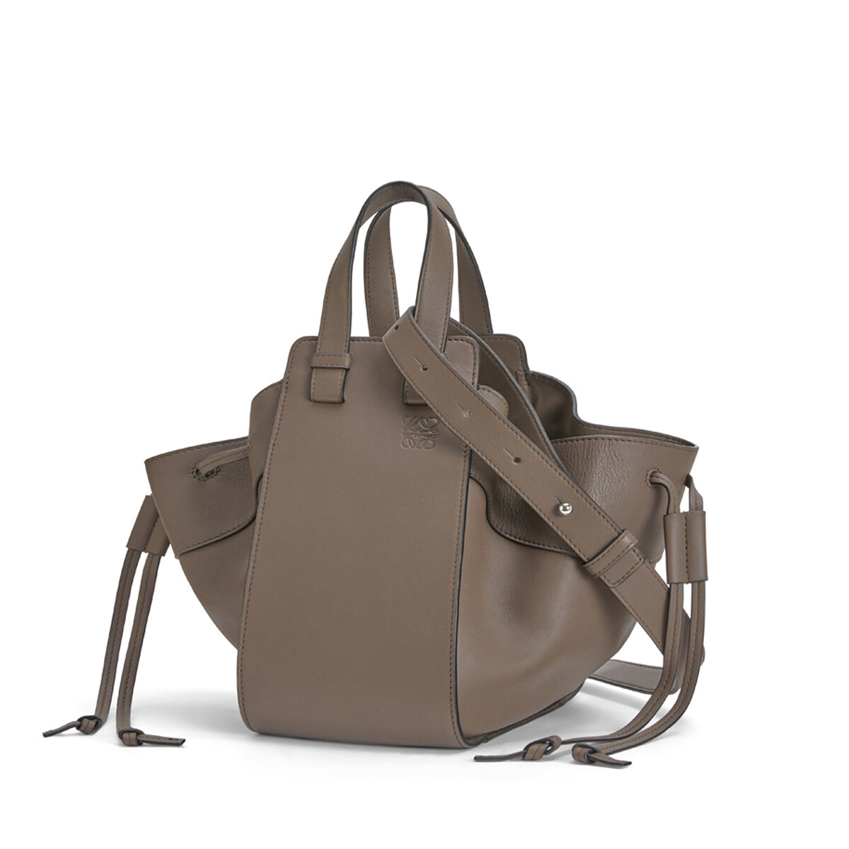 LOEWE Hammock Drawstring Small Bag Dark Taupe front