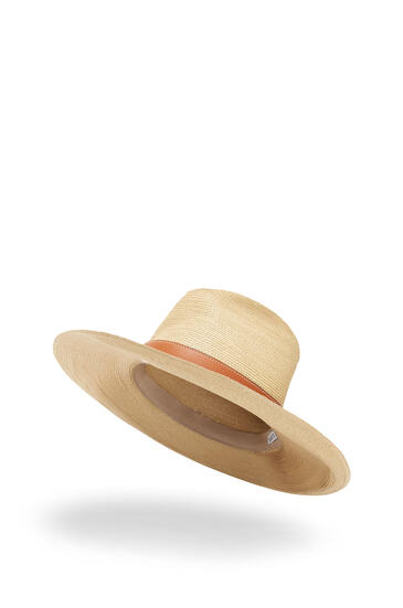 LOEWE Sombrero Panamá En Paja Y Piel De Ternera Natural/Bronceado pdp_rd