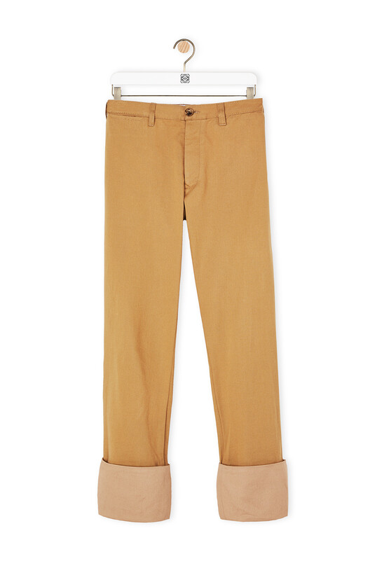 LOEWE Chino Turn Up Trousers キャメル front