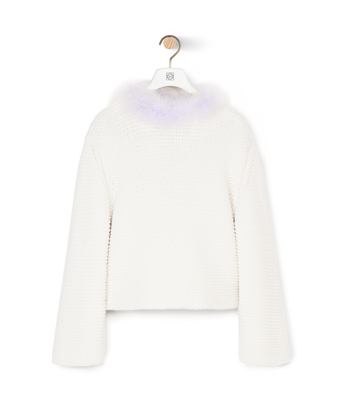 LOEWE Feather Trim Sweater White/Purple front